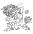 beautiful mermaid girl surrounded by a fish holds vector image vector image