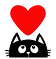 black cat looking up to big red heart cute vector image vector image