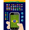 Brazil soccer championship phone infographic vector image vector image