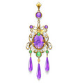 brooch with amethyst and chrysoprase vector image
