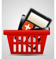 calculator and shopping basket vector image vector image