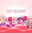 candy of pink land background vector image