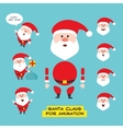 Cartoon character Santa Claus in various positions vector image vector image