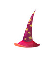cartoon red astrologer or witch hat icon vector image
