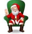 cartoon santa claus sitting on green arm chair vector image vector image