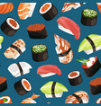 cartoon sushi types pattern vector image vector image