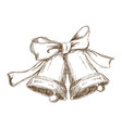 Christmas bells with bow vintage engraving