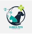 clinics pets logo design vector image vector image