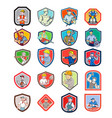 construction worker icon shield set vector image