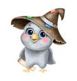 cute cartoon magic owl with wizard hat vector image