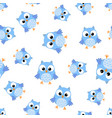 cute cartoon owl seamless pattern background vector image vector image