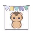 cute porcupine with garlands hanging vector image vector image