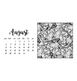 Desk calendar template for month August vector image vector image