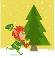 elf running with giftbox passing pine tree spruce vector image vector image