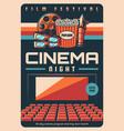 film festival cinematography art retro poster vector image