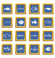 fish icons set blue vector image