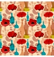 Flowers vases and bottles seamless pattern vector image