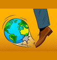 foot hits the earth globe pop art vector image vector image