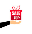 gift box on the hand with a 70 percent discount vector image vector image
