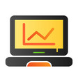 graph on screen flat icon chart on laptop color vector image vector image