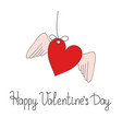 greeting card happy valentines day with heart and vector image vector image