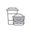 hamburger and coffee line icon concept hamburger vector image vector image