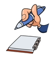 Hand with pen and notepad 2 vector image