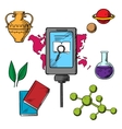 History and biology science icons vector image