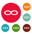 infinity symbol icons circle set vector image