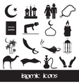 islamic religion simple black icons set eps10 vector image vector image