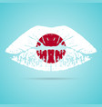 japan flag lipstick on the lips isolated on a vector image