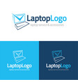 laptop checkmark logo and icon vector image