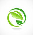 leaf ecology circle symbol logo vector image vector image
