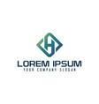 letter h emblem logo business technology design vector image vector image