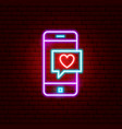 love phone message neon sign vector image vector image
