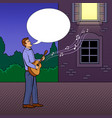 man sings serenade pop art vector image vector image