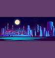 night city background with muslim mosque vector image vector image
