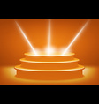 orange Illuminated stage podium for award ceremony vector image
