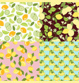 patterns with lime lemon slices and lemon leaves vector image vector image