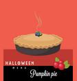 pumpkin pie halloween menu vector image vector image