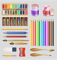 realistic artistic tools isolated on transparent vector image