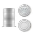 realistic gray tin can set metal template vector image vector image