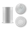 realistic gray tin can set metal template vector image