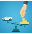 Scales with car and gold coins vector image vector image