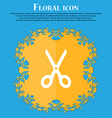 Scissors icon sign Floral flat design on a blue vector image vector image