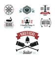 sea marine nautical logo icons sailing vector image vector image