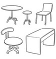 set of table and chair vector image