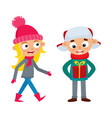 set of young teenage in winter clothes with mobile vector image vector image