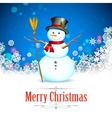 Snowman in Christmas Snowflakes Background vector image vector image