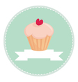 sweet retro cupcake button with white place vector image vector image